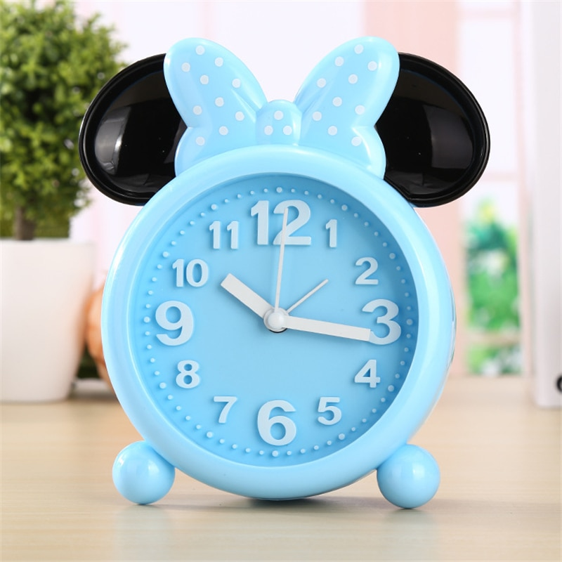 reveil enfant minnie mouse analogique bleu