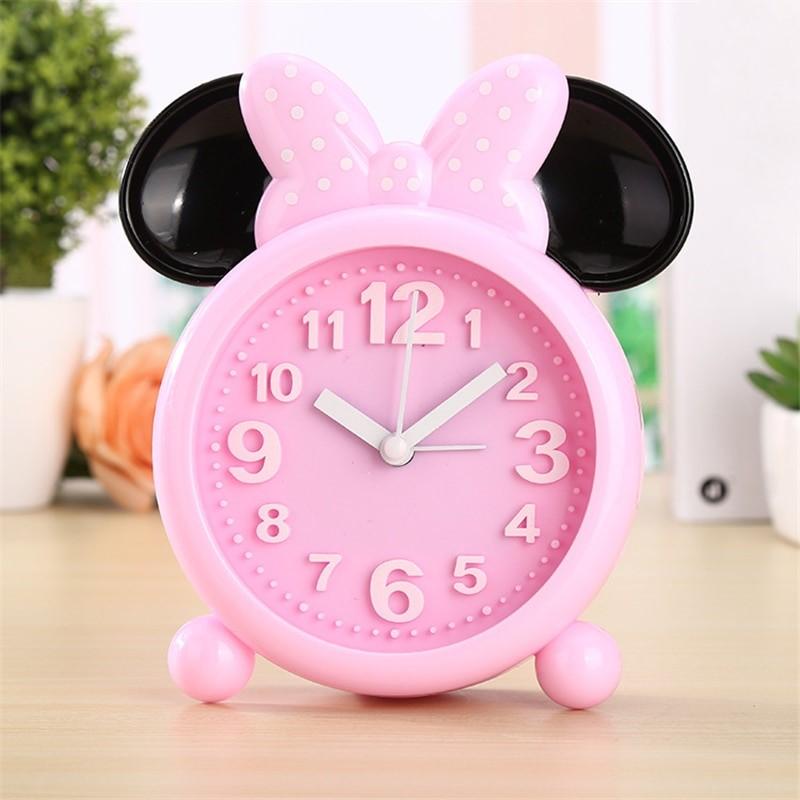 reveil enfant minnie mouse analogique rose
